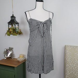Billabong Gingham Mini Tie Front Babydoll Dress